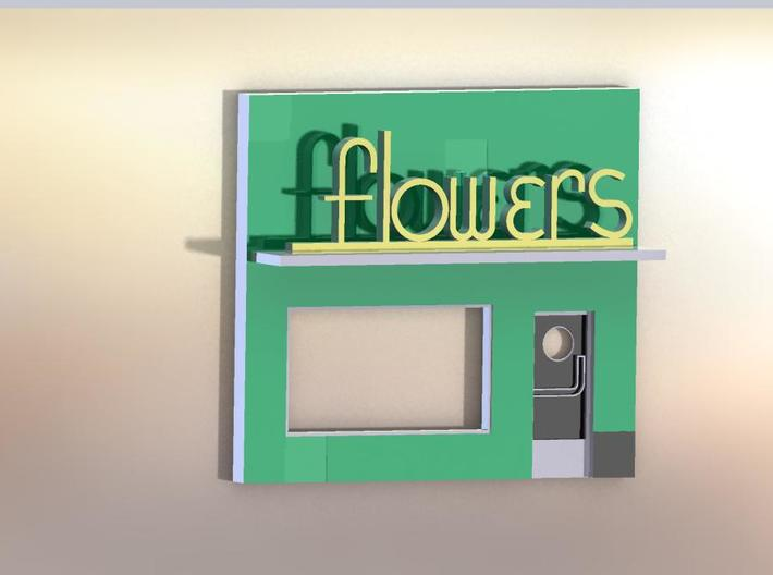 HO Scale Towata Flowers Storefront Art Deco Flower 3d printed A rendering of what the completed model should look like.