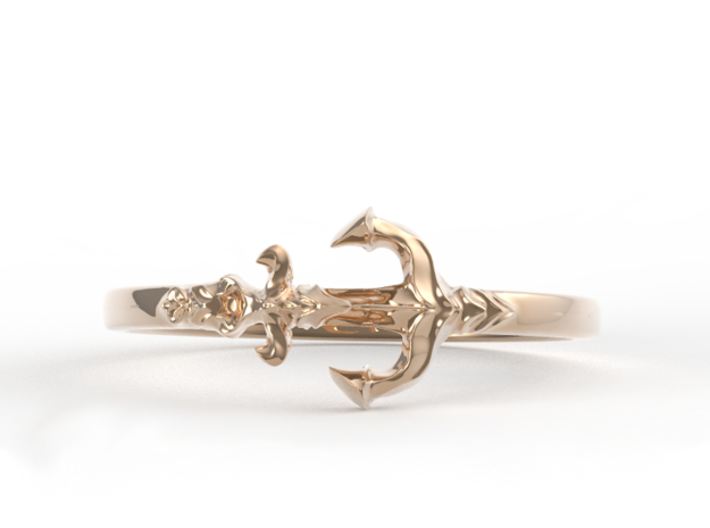 Anchor Of Hope Ring  3d printed