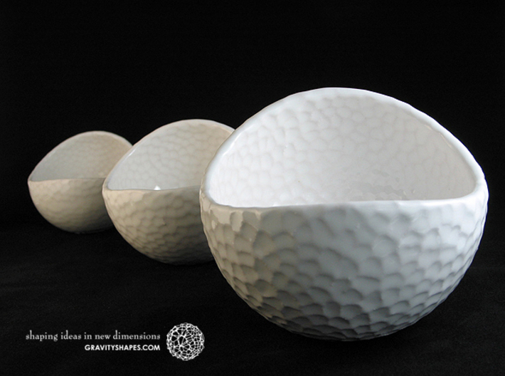 Porcelain Plant-pot in Golfball-Look (large round) 3d printed Gloss White - Size small, large and XL