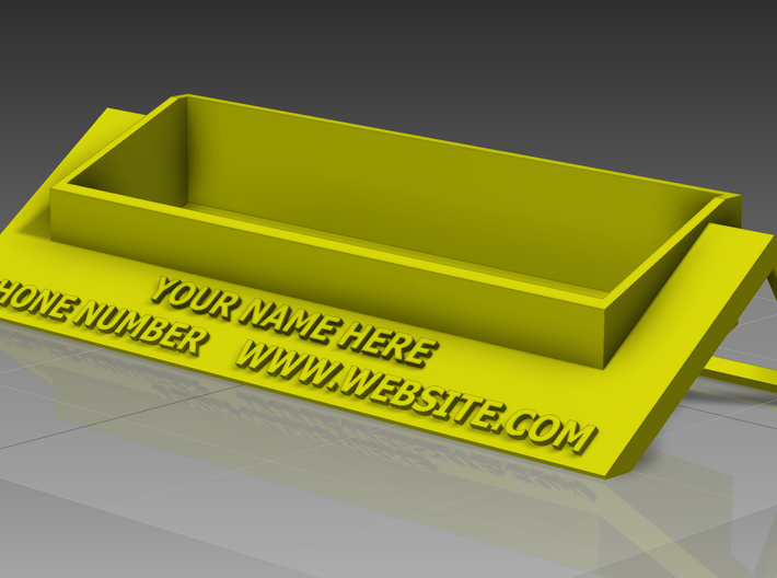 Custom Busisness Card Holder 3d printed Sample render in Yellow Plastic