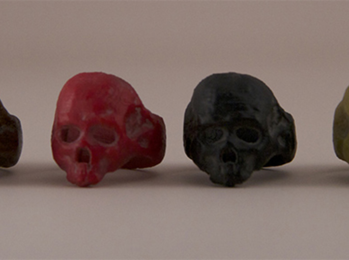 Skull Ring 3d printed Printed on MakerBot 2x in ABS, Laywoo-d3 and HIPS