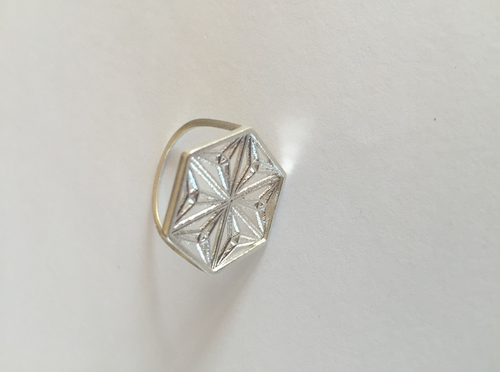 Silver Snowflake Ring 3d printed Silver Snowflake Ring- An array of Morley Triangles