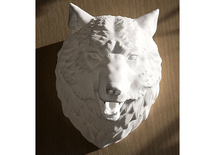 Angry Wolf Wall Mount 3d printed Wolf head in plastic