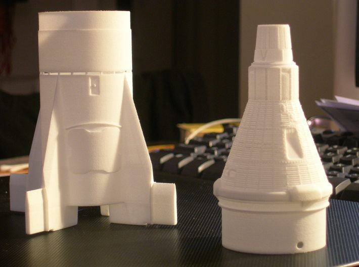 Liberty Bell 7 Capsule for ST-20 Estes (1/35) 3d printed Redstone Booster fin unit(sold separately) and Mercury Capsule cone
