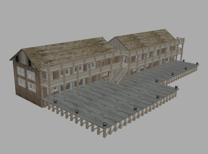 Ship Dock With Buildings 3d printed Dock With 2 Building z Scale