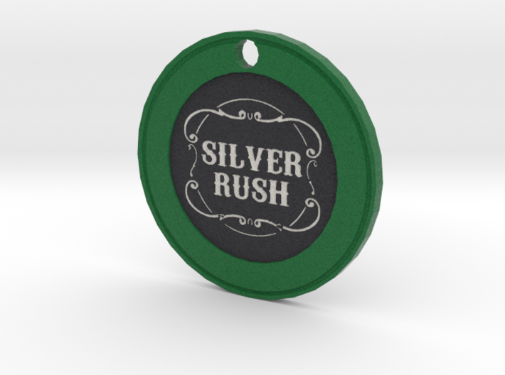 Silver Rush Chip Pendant 3d printed
