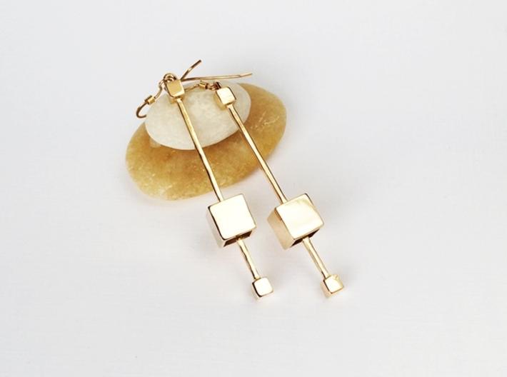 Dangling Cube Earrings - geometric jewelry 3d printed Floating Cubes Earrings