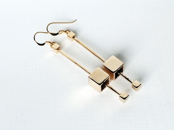 Dangling Cube Earrings - geometric jewelry 3d printed Cube Earrings