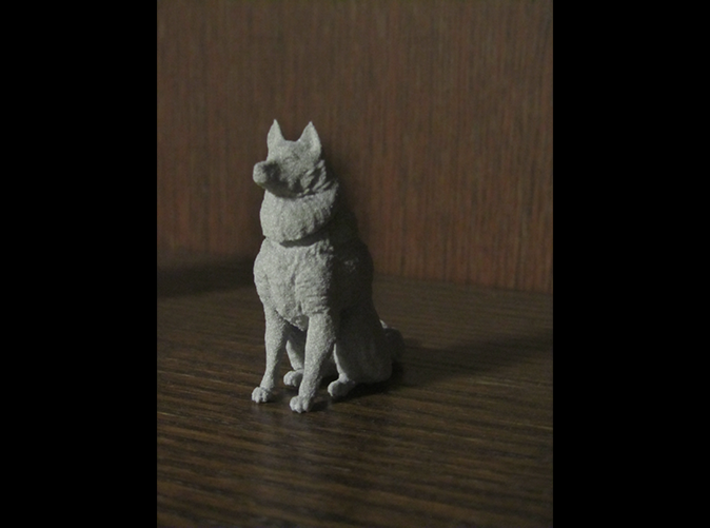 Dog Figurine - Sitting Finnish Spitz (hollow) 3d printed 3D Render (actual print quality may vary)