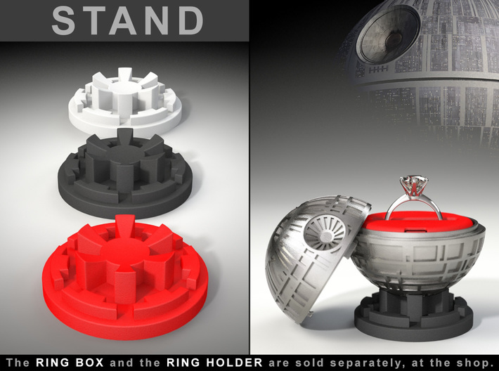 "STAND - To the ""Death Star Ring Box"" 3d printed The ring is not included."