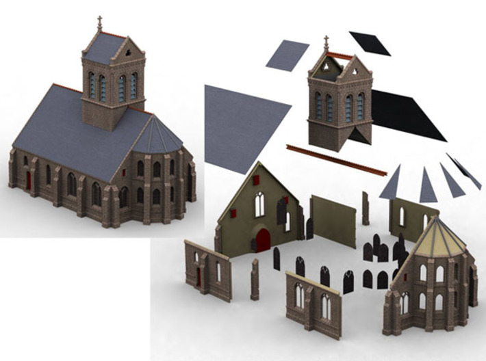 HORelM0111 - Gothic modular church 3d printed