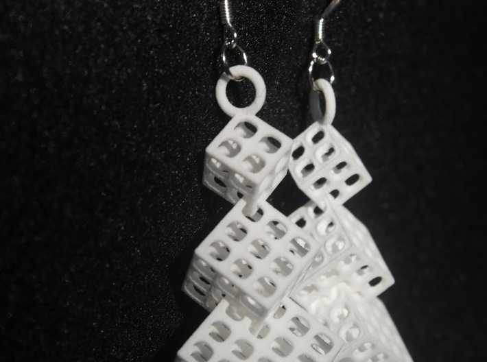 Cut Cube Binary 3d printed Hanging view