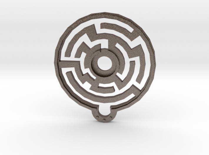 Labyrinth Pendant 3d printed This image was rendered upside down for more fun...apparently.