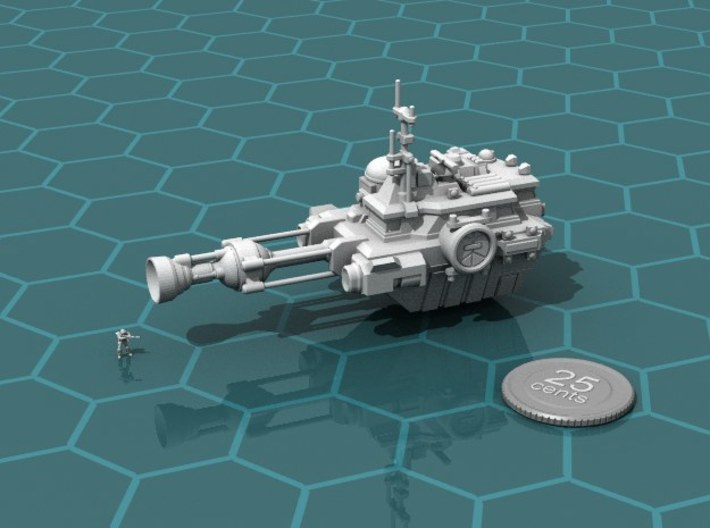 Utility Ship Flying 3d printed Render of the model, with a virtual quarter for scale.