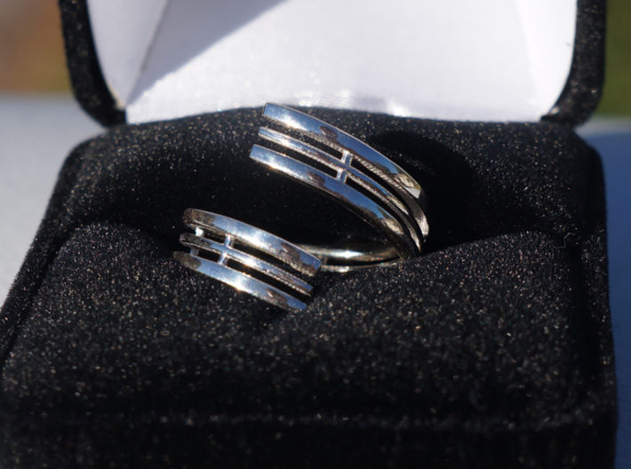 Bars & Wire Ring Size 12 3d printed Photo of the ring in a velvet box, printed in sterling silver.