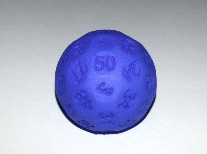 D50 Sphere Dice 3d printed in Blue Strong and Flexible