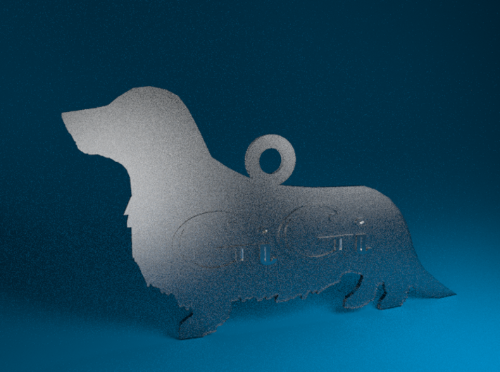 Silhouette Personalized Ornament (Dachshund - Wien 3d printed Transparent Detail Render