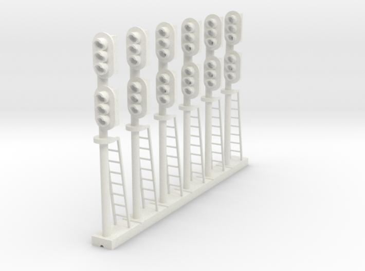Block Signal Double 3 Light RH (Qty 6) - HO 87:1 3d printed
