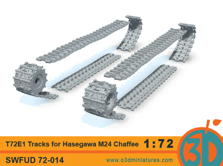 T72E1 tracks for Hasegawa M24 Chaffee 1/72 scale S 3d printed