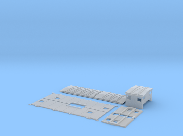 SSW 1-25 Caboose Body Kit, Bolted Windows 3d printed