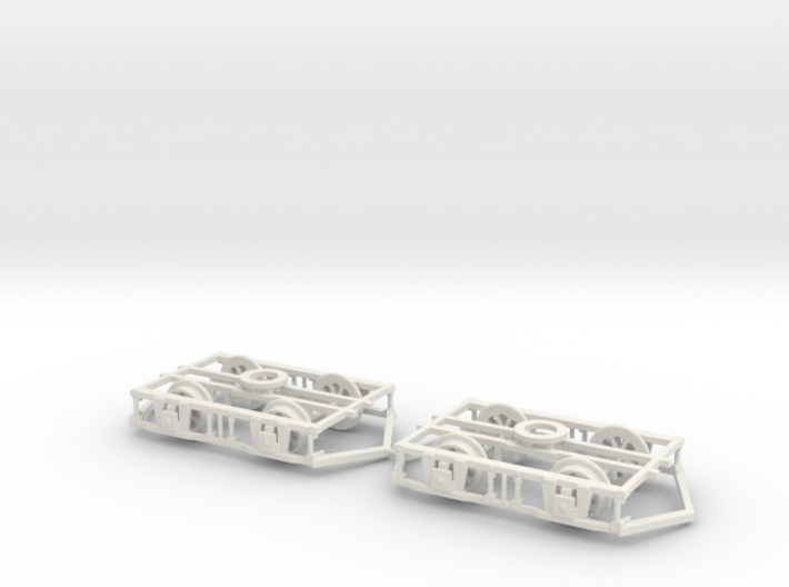 OO scale Lancaster Bogies With Ploughs And Wheels 3d printed