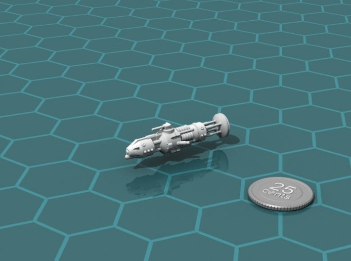 USS Brecker class Destroyer 3d printed Render of the model, with a virtual quarter for scale.