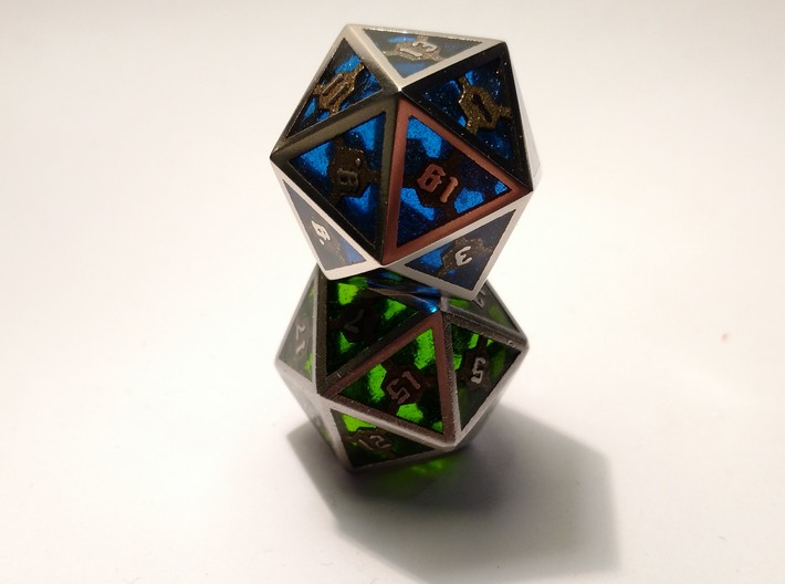D20 Epoxy Dice 3d printed Epoxy is not printed and has to be added later on by the customer