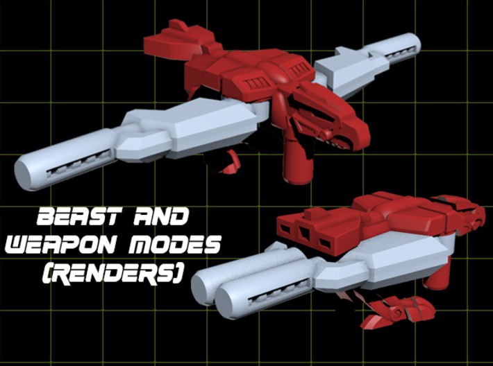 Birdshot (Falcon/Eagle) Transforming Weaponoid Kit 3d printed Render of both modes