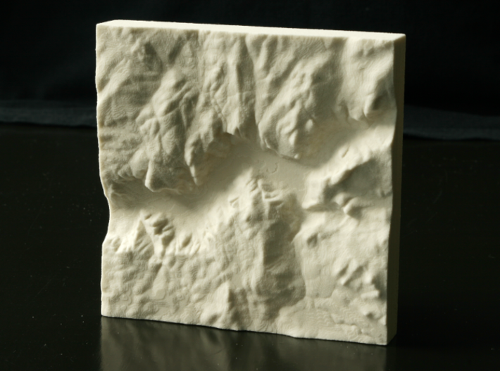 """4'' Yosemite Valley, California, USA, Sandstone 3d printed Photo of actual 4"""" print, North is up"""