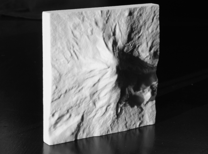 4'' Mt. Adams, Washington, USA, Sandstone 3d printed B/w photo of actual model, North is up.