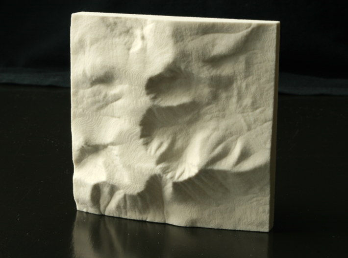 4'' Mt. Katahdin, Maine, USA, Sandstone 3d printed Photo of actual 3D print in Sandstone; North is up.