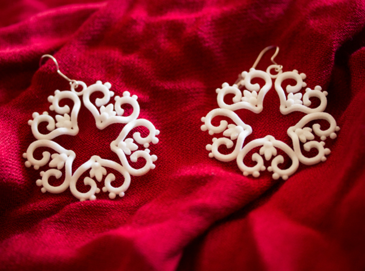 Filigree Star Earrings 3d printed