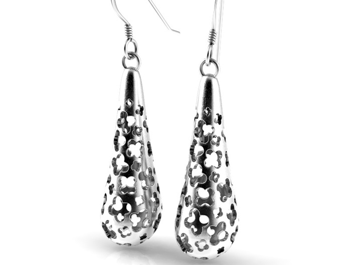 Flower earrings 3d printed This is a render of the earrings in silver with hooks