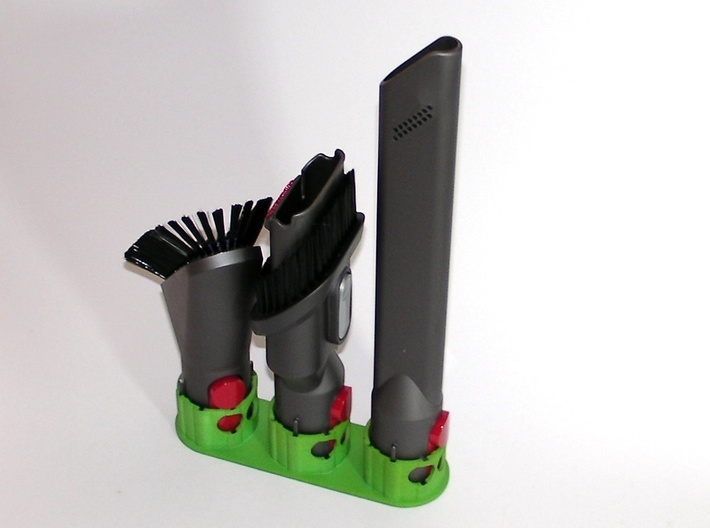 Holder - Dyson V8 x2 Tools - Wall Mount 3d printed 3 x example. Showing the brush angled to fit