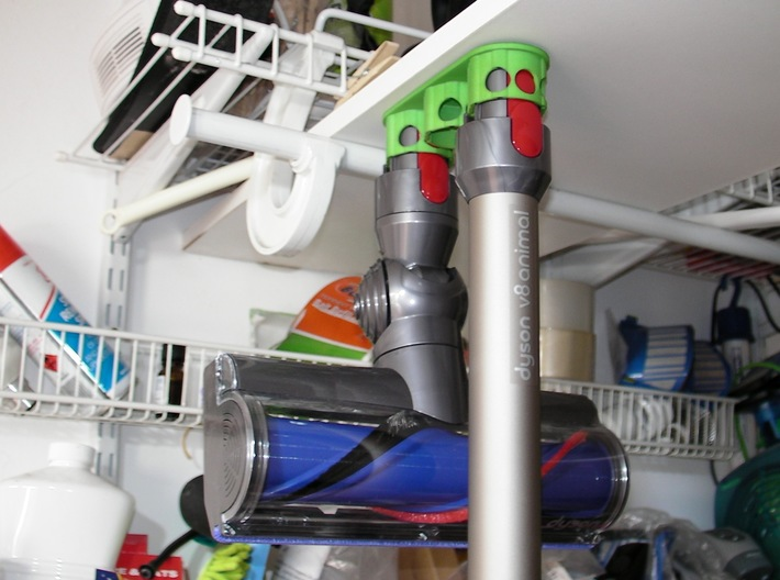 Holder - Dyson V8 x 4 tools (S&F) - Wall Mount 3d printed Showing how it hangs ('cuse the mess)