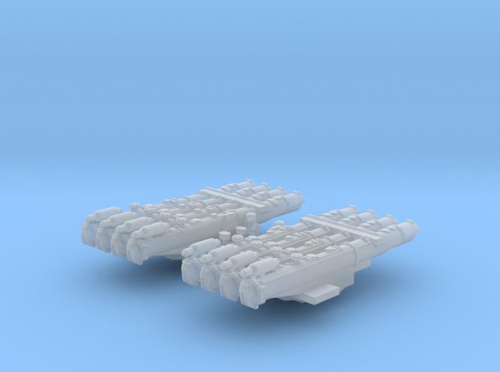 "1/700 RN WW2 Quad 21"" Torpedo Tubes x2 3d printed 1/700 RN WW2 Quad 21"" Torpedo Tubes x2"