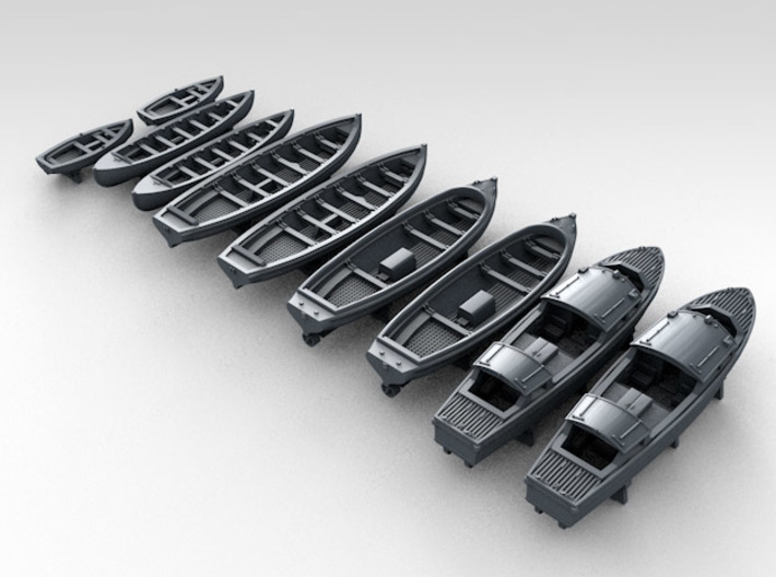 1/450 WW2 RN Boat Set 1 with Mounts 3d printed 3d render showing product detail