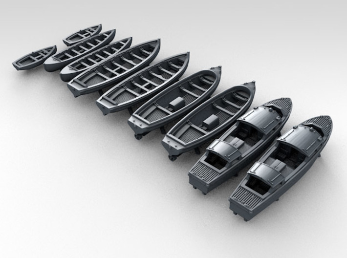 1/450 WW2 RN Boat Set 1 without Mounts 3d printed 3d render showing product detail