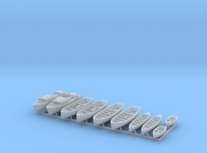 1/350 WW2 RN Boat Set 1 without Mounts 3d printed 1/350 Royal Navy WW2 Boat Set 1