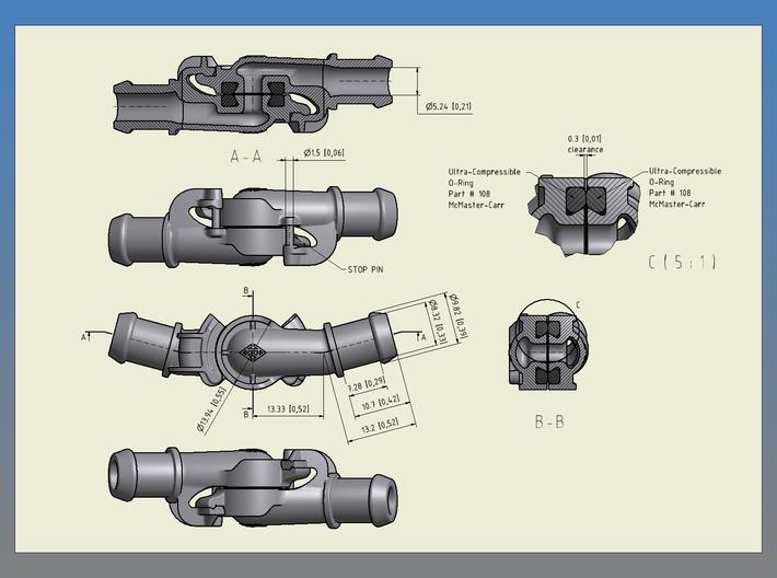 "Air Brake Gladhand - 2.5"" scale, LIVE STEAM 3d printed"