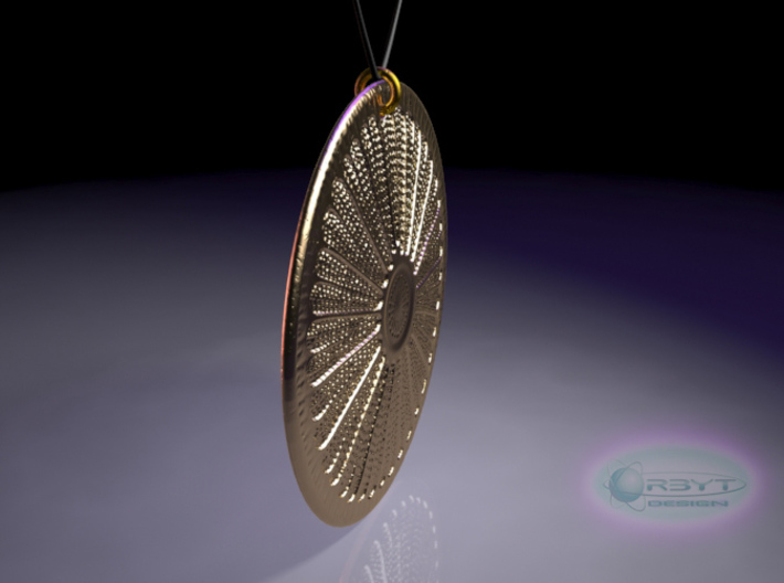 Arachnoidiscus ehrenbergi Diatom ~ 40mm (1.57inch) 3d printed Arachnoidiscus ehrenbergi diatom pendant rear view raytraced render simulating polished bronze material