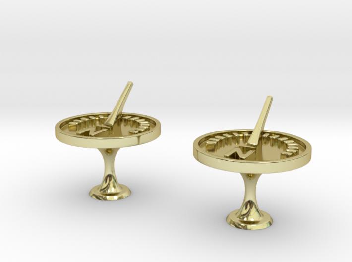 Sundial Cufflinks 3d printed