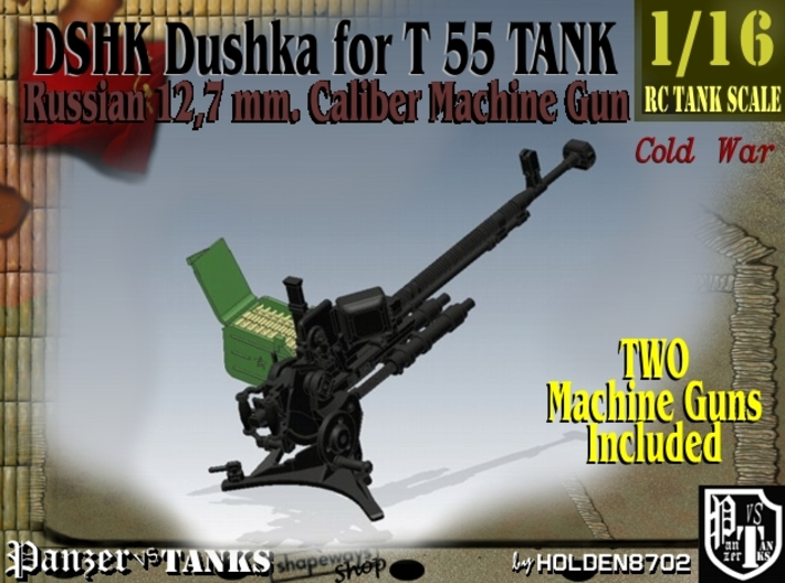 1-16 DSHK Dushka 2 UNITS For T-55 3d printed