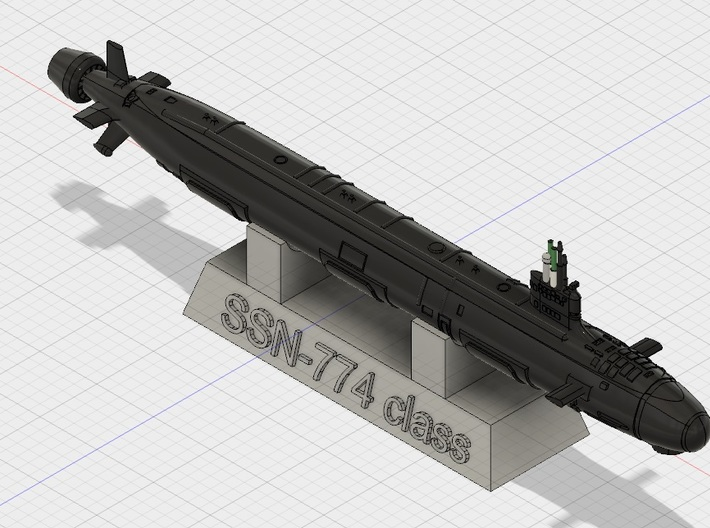 1/2000 USN Virginia-class submarine 3d printed Computer software render