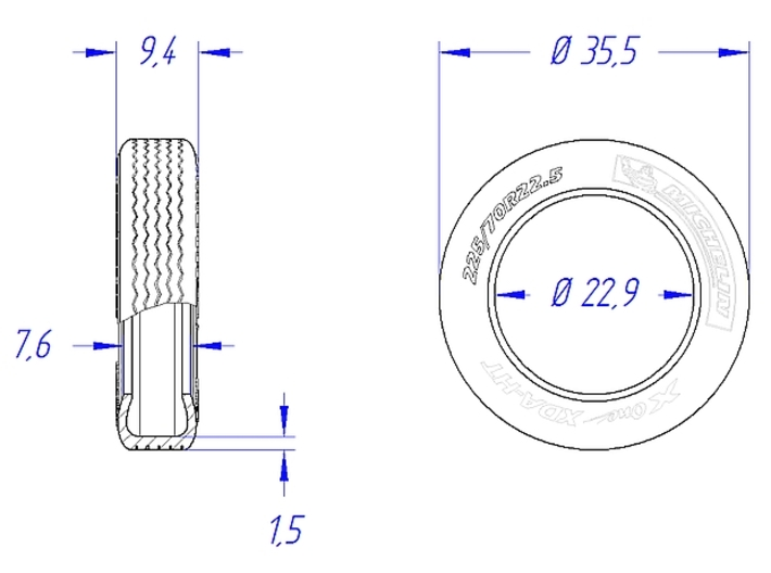 """1/25 22,5"""" Truck-Tires 3d printed Front Tire - Dimensions"""