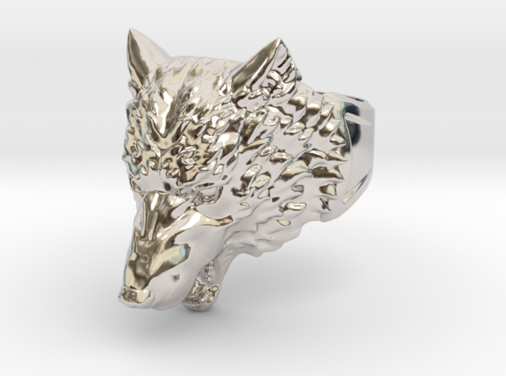 Wolf Head Ring 3d printed