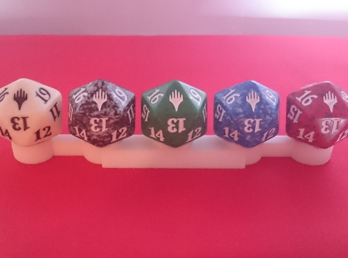 Dice Stand 5 D20 (MTG Spindowns) 3d printed Top view with dice. Dice are not included.