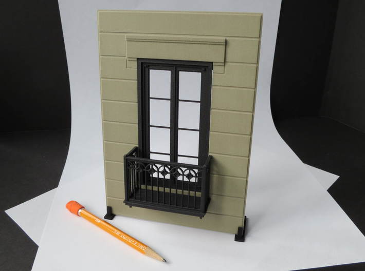 Architectural wall for Juliet balcony 3d printed Combined wall and door with Juliet Balcony -(door and Juliet Balcony ordered separately)(the doors do not open)..