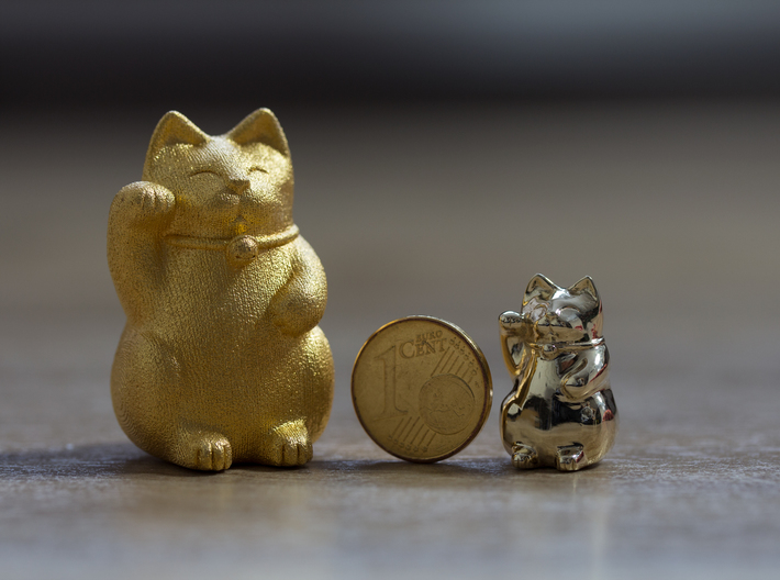 Maneki Neko Sculpture 3d printed matte gold steel (unpolished) and polished brass
