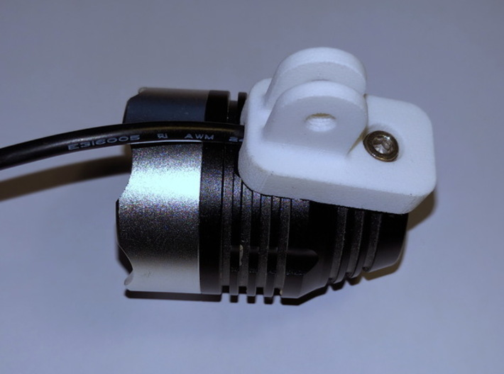 V1.2 (Lupine compatible) GoPro bike headlamp mount 3d printed Mount in use with a MJ-808 clone.